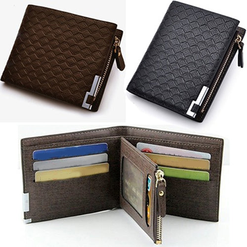 Men Faux Leather Zip Bifold Wallet Money Clip Card Holder Pocket Clutch Purse
