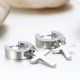 Men's Women's Stainless Steel Cross Drop Dangle Huggie Hinged Hoop Earrings