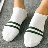 5 Pairs Summer Cotton Men Short Boat Socks Casual Strip Shallow Mouth Stripe Man