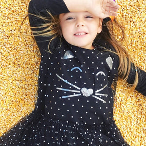 Baby Toddler Girl Sequin Dots Lovely Skirt Cartoon Cat Long Sleeve Tulle Dress