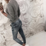 Women Fashion Elastic Long Sleeve Lace Round Neck Slim Fit T-shirt Top Blouse