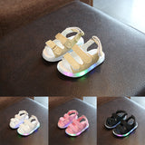 Toddler Boy Girl LED Light Magic Tape Baby Sandals Summer Anti-slip Hollow Shoes