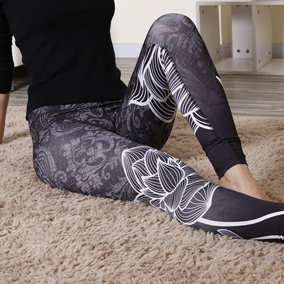 Women Elastic Printed Sports Trousers Gym Fitness Yoga Slim Leggings Pants