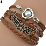 Vintage Multilayer Bracelet Angel Wing Infinity Love Heart Letters Jewelry Gift