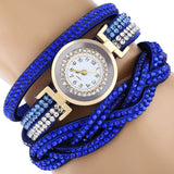 Fashion Women Rhinestones Faux Leather Braid Analog Quartz Bracelet Wrist Watch