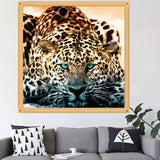 DIY 5D Embroidery Leopard Painting Cross Stitch Needlework Wall Art Home Decor
