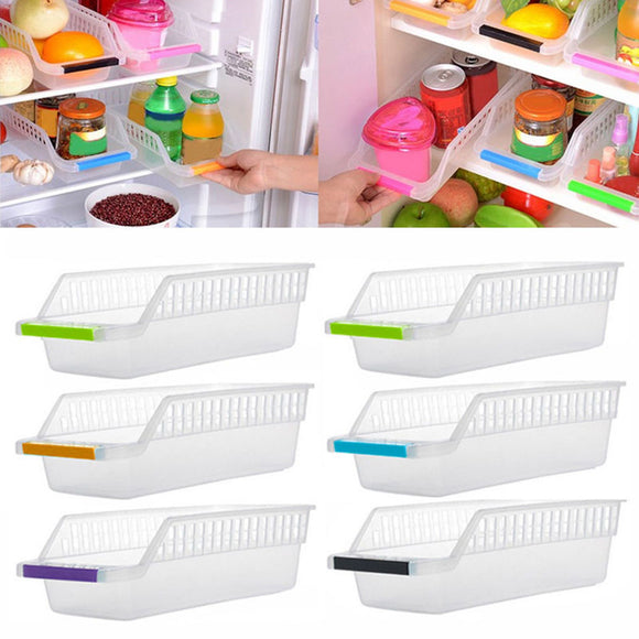 Home Kitchen Fridge Space Saver Organizer Slide Under Shelf Rack Storage Holder
