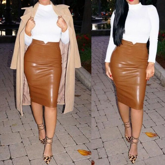 Local Store Women Leather Skirt High Waist Slim Party Pencil Skirt