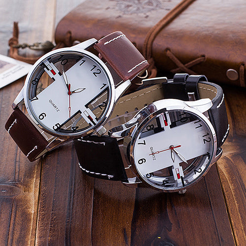 Men's Creative Hollow Dial Faux Leather Strap Analog Quartz Sports Wrist Watch