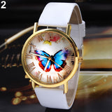 Women Butterfly Dial Faux Leather Roman Numerals Quartz Analog Dress Wrist Watch