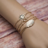 4Pcs Fashion Women Sun Leaf U-shape Adjustable Bracelets/Anklets Set Jewelry