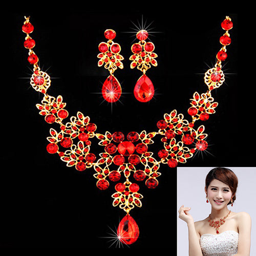 Bridal Wedding Party Red Golden Color Alloy Pendant Necklace Earrings Set