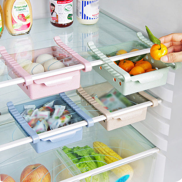 Slide Kitchen Fridge Freezer Space Saver Organizer Storage Rack Shelf Drawer