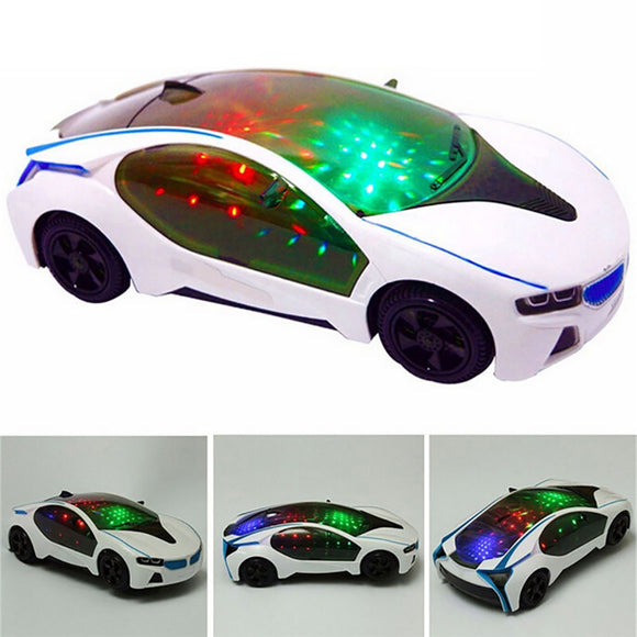 3D Supercar Model Electric Toy with Wheel Lights Music Kids Boys Girls Gift