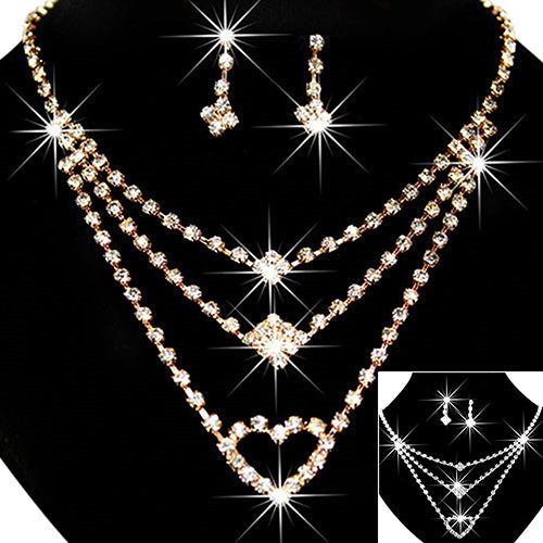Women's Wedding Bride Love Heart Multilayer Necklace Earrings Jewelry Set Gift