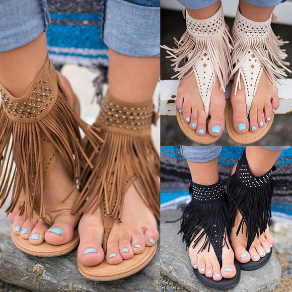 Women Bohemian Tassel Fringe Casual Summer Beach Faux Leather Thong Sandals Flats