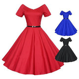 Women's Vintage Wide V-neck Long Swing Dress Short Sleeve Cocktail Party Dress