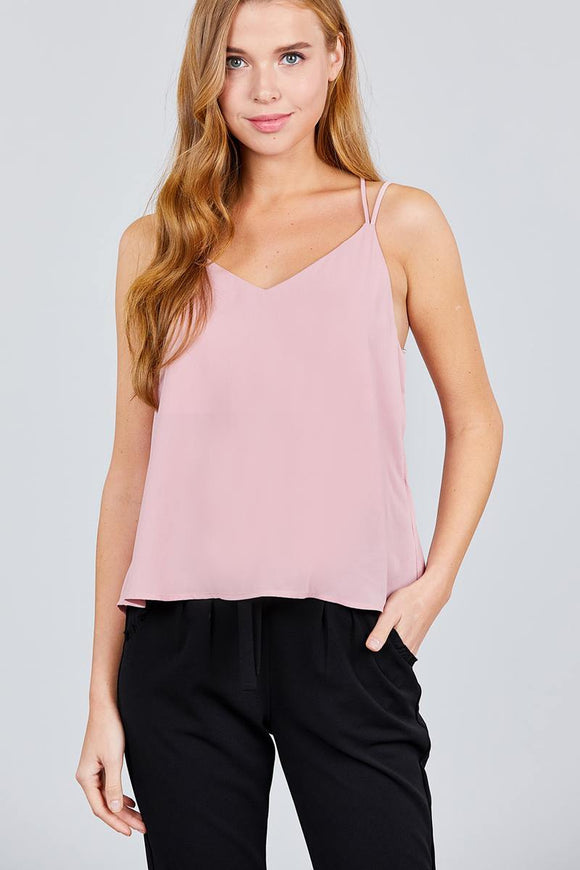 Blush Pink Criss Cross Back Loose Cami