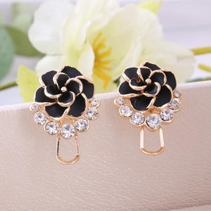 Fashion Flower Peony Women Girls Crystal Earrings