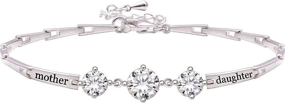 18K White Gold Plated Mother and Daughter Bracelet