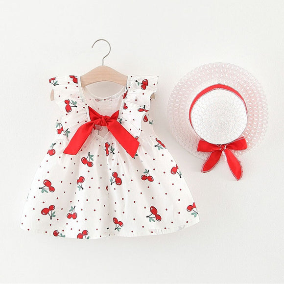 Kids Toddler Baby Girl Cherry Dot Print Dress With