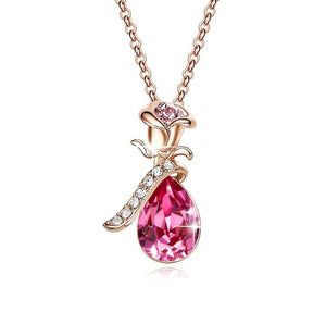 Swarovski Crystals Pink Topaz Waterdrop with Pink