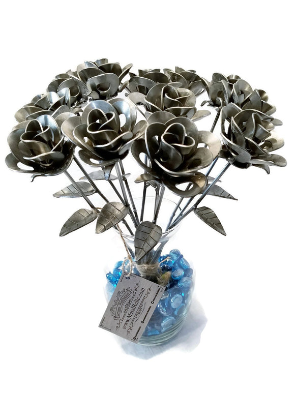 Dozen Metal Roses, Recycled Metal Roses, Steampunk