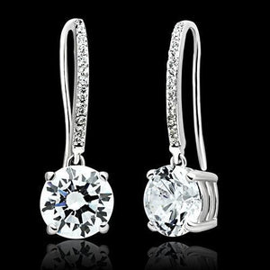 TS052 Rhodium 925 Sterling Silver Earrings with