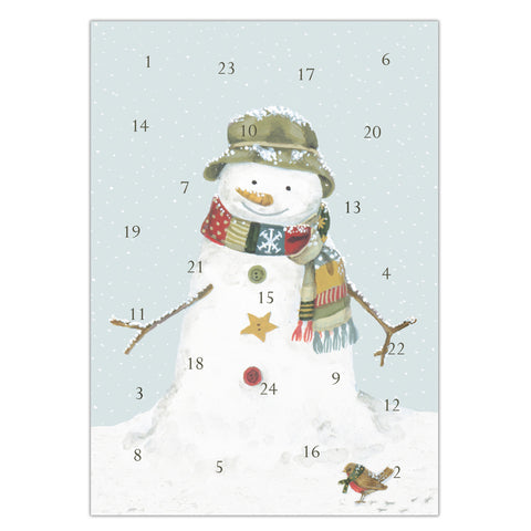 Snowman advent calendar card, made in England