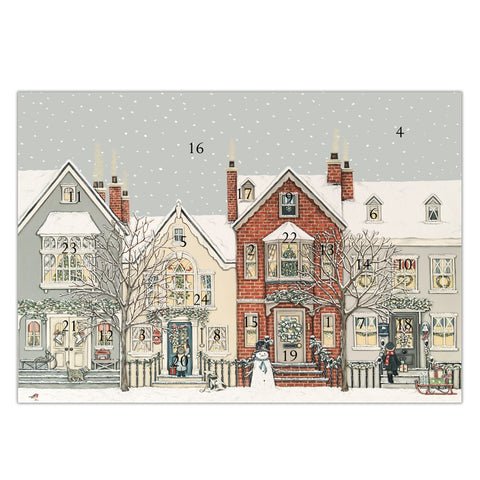 Snowy Street advent calendar card, made in England