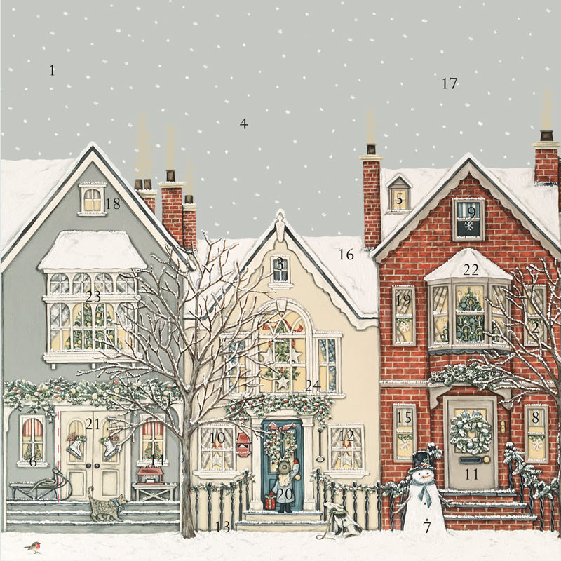 Snowy Street advent calendar, made in England