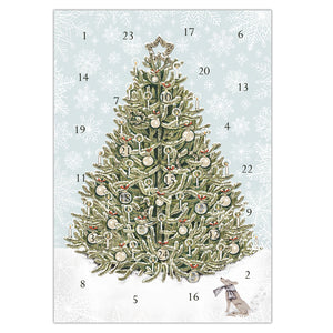 Christmas Tree advent calendar card, made in England