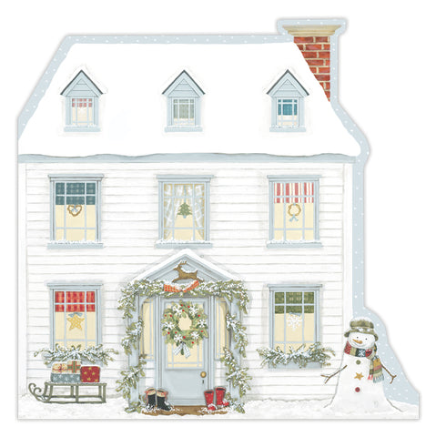 Christmas House die cut Christmas card, made in England