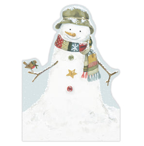 Snowman die cut Christmas card, made in England