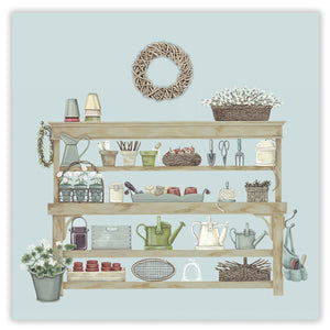 potting bench greetings card