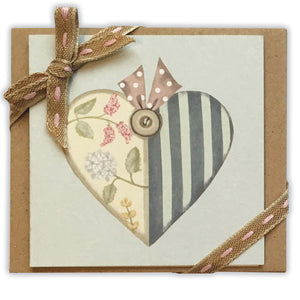 patchwork heart mini ribboned notelets
