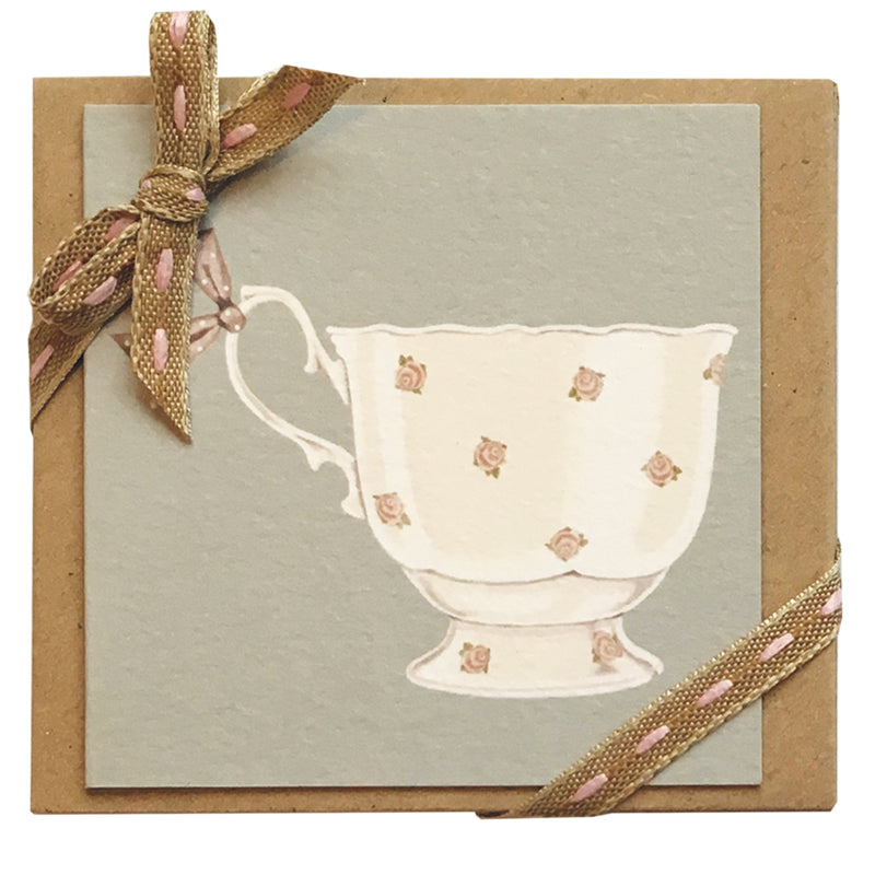 tea cup mini ribboned notelets