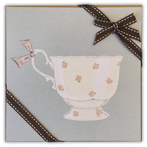 Ribboned Pack of Tea Cup (Blue) Greetings Cards