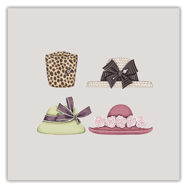 Ribboned Pack of Hats, Bags & Shoes Greetings Cards