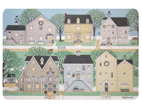 Set of 4 serving mats depicting clapboard houses