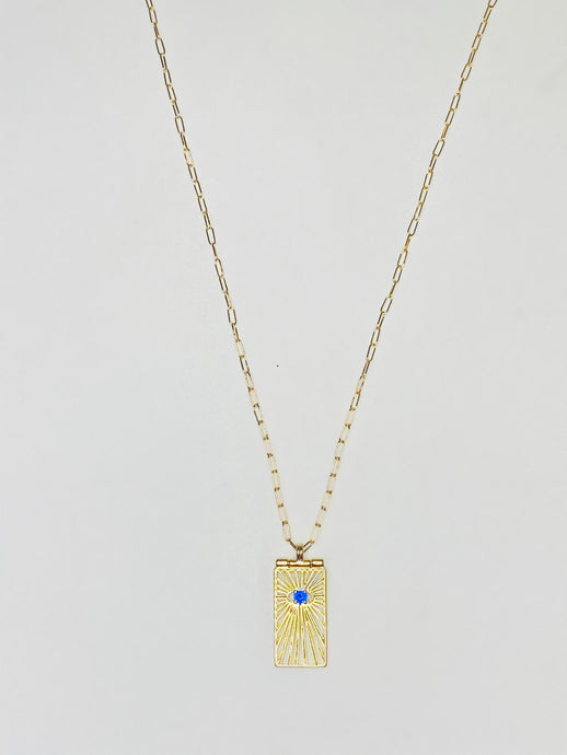 Sapphire Evil Eye Burst Medallion Necklace