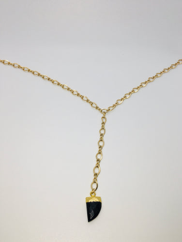 Twisted Gold Horn Lariat