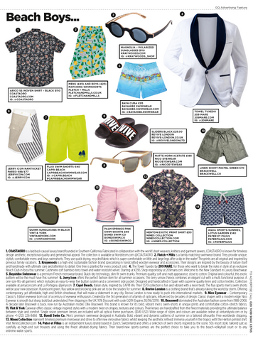 GQ Fletch + Mills feature, Pineapple matching swim shorts