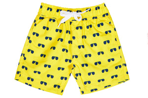 Boys - Yellow and Navy Aviator Print Matching Swim Shorts