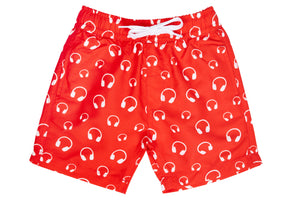 Boys - Red and White Headphone Print Matching Swim Shorts