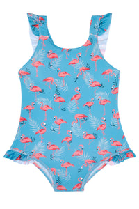 Girls - Green and Pink Flamingo Swimming Costume