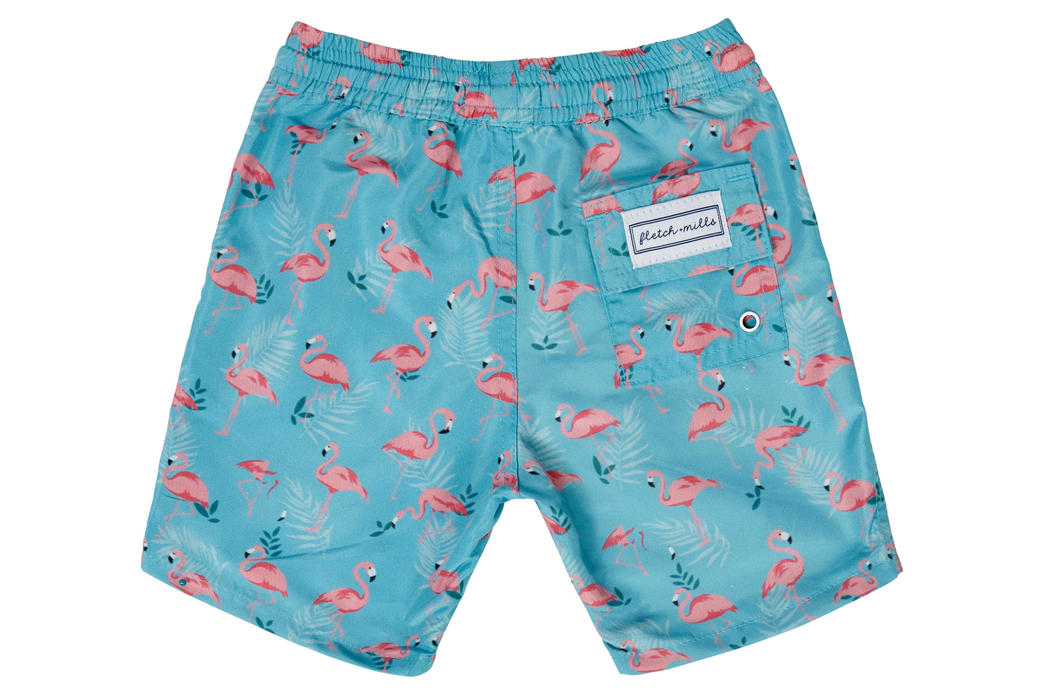 Boys - Green and Pink Flamingo Print Matching Swim Shorts
