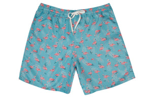 Mens - Green and Pink Flamingo Print Matching Swim Shorts