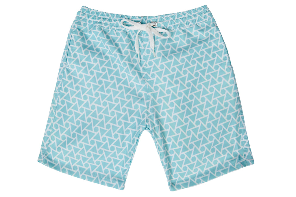 Boys - Mint Green and White Geo Print Matching Swim Shorts