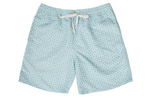 Mens - Mint Green and White Geo Print Matching Swim Shorts